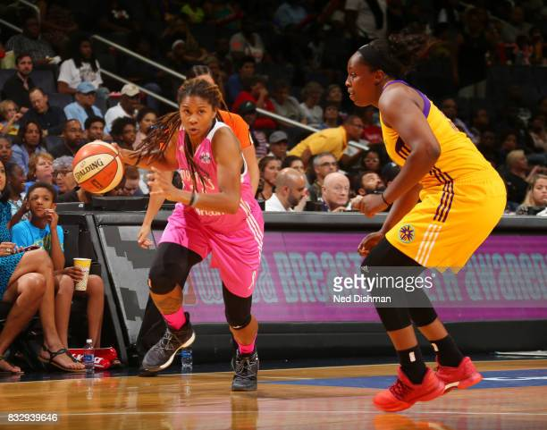 Tierra RuffinPratt of the Washington Mystics drives to the basket against the Los Angeles Sparks on August 16 2017 at the Verizon Center in...