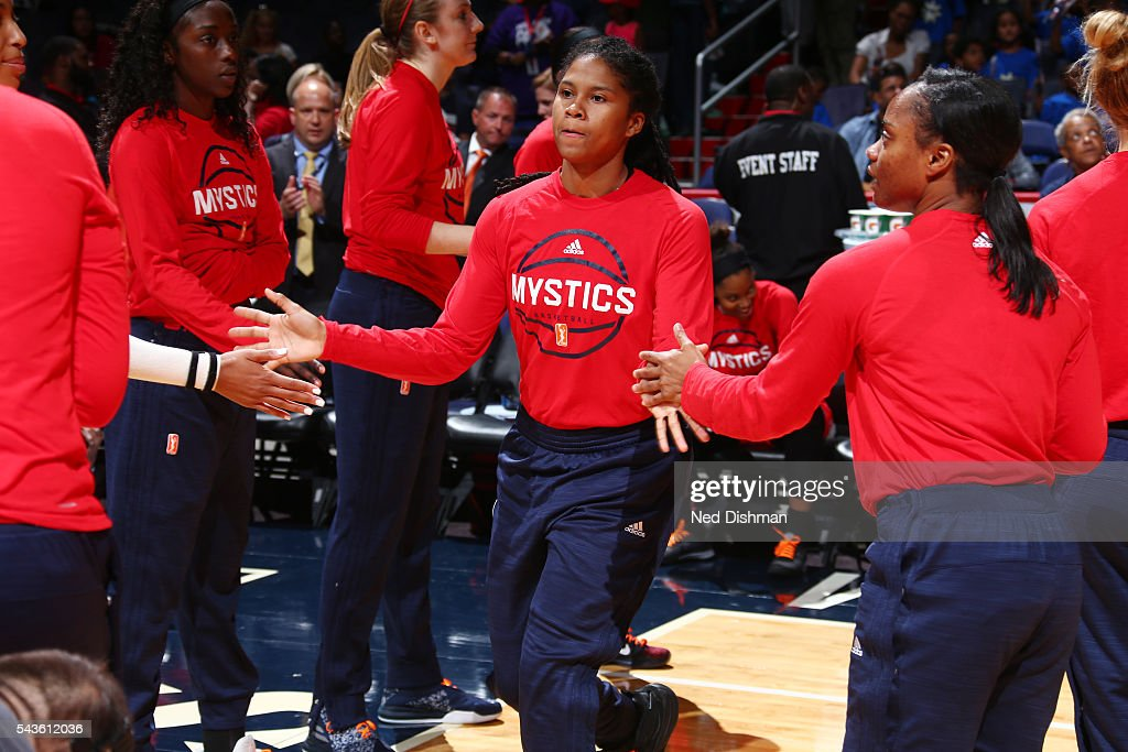 Tierra Ruffin-Pratt #14 of the Washington Mystics gets introduced before the game against the San Antonio Stars on June 29, 2016 at the Verizon Center in Washington, DC.