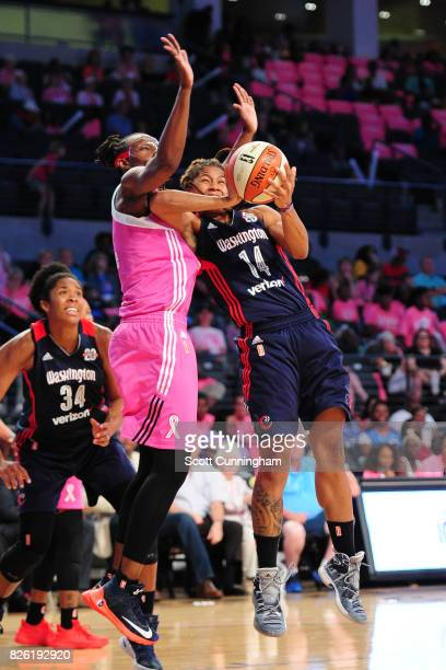 Tierra RuffinPratt of the Washington Mystics goes for a lay up during the game against the Atlanta Dream on July 30 2017 at Hank McCamish Pavilion in...