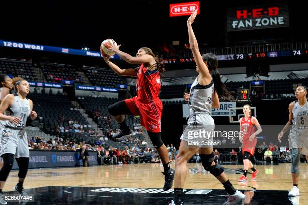 Tierra RuffinPratt of the Washington Mystics goes for a lay up during the game against the San Antonio Stars during a WNBA game on August 4 2017 at...
