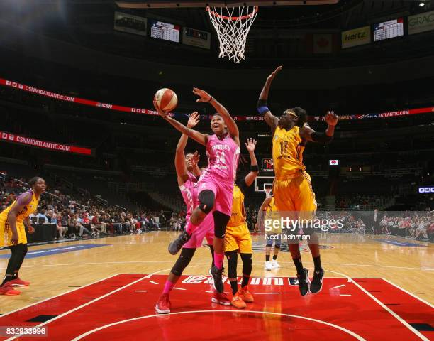 Tierra RuffinPratt of the Washington Mystics goes for a lay up against the Los Angeles Sparks on August 16 2017 at the Verizon Center in Washington...