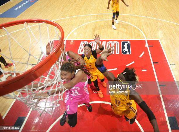 Tierra RuffinPratt of the Washington Mystics goes for a lay upagainst the Los Angeles Sparks on August 16 2017 at the Verizon Center in Washington DC...