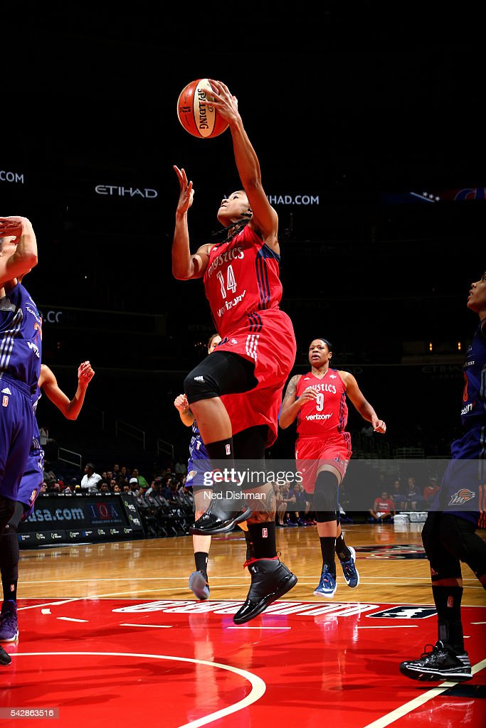 Tierra Ruffin-Pratt #14 of the Washington Mystics goes for the lay up during the game against the Phoenix Mercury during a WNBA game on June 24, 2016 at Verizon Center in Washington, DC.