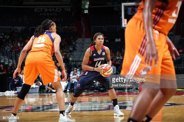 Tierra RuffinPratt of the Washington Mystics handles the ball against the Phoenix Mercury on August 6 2017 at the Verizon Center in Washington DC...
