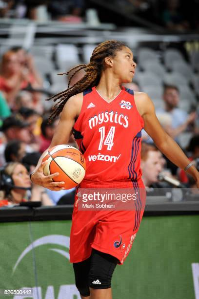 Tierra RuffinPratt of the Washington Mystics handles the ball during the game against the San Antonio Stars during a WNBA game on August 4 2017 at...