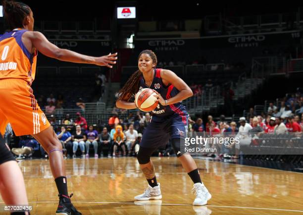 Tierra RuffinPratt of the Washington Mystics passes the ball against the Phoenix Mercury on August 6 2017 at the Verizon Center in Washington DC NOTE...