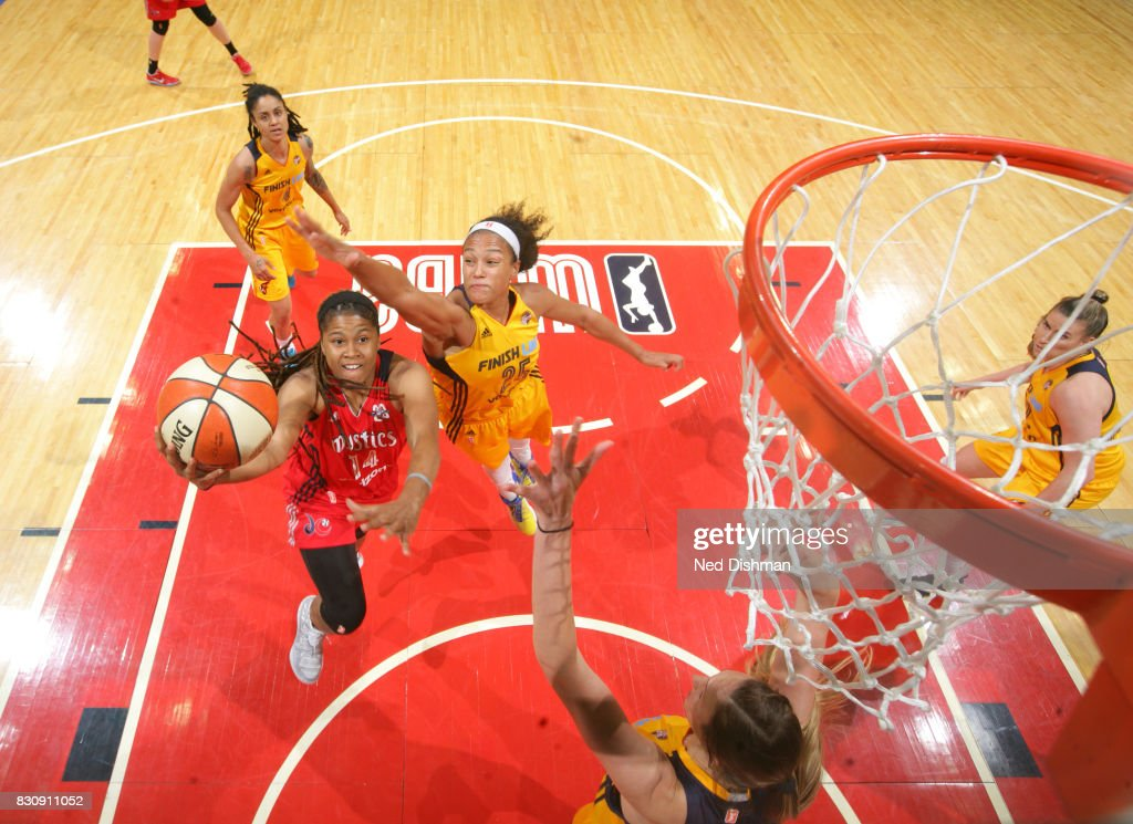 Tierra Ruffin-Pratt #14 of the Washington Mystics shoots a lay up against the Indiana Fever on August 12, 2017 at the Verizon Center in Washington, DC.