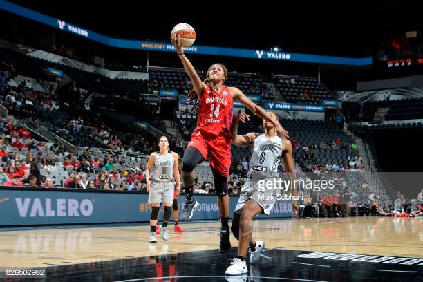 Tierra RuffinPratt of the Washington Mystics shoots a lay up during the game against the San Antonio Stars during a WNBA game on August 4 2017 at the...