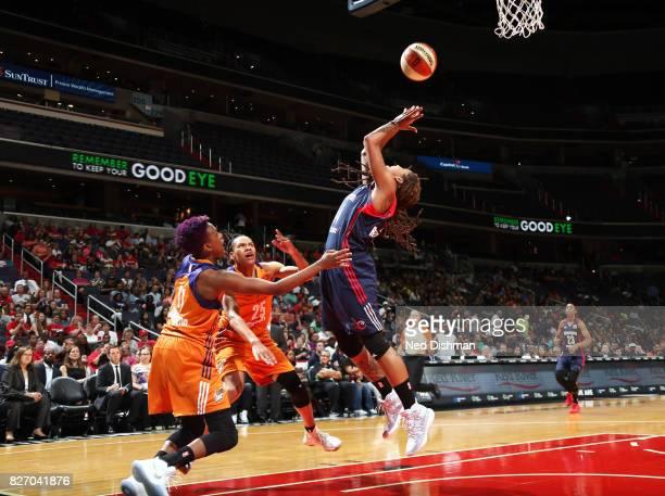 Tierra RuffinPratt of the Washington Mystics shoots the ball against the Phoenix Mercury on August 6 2017 at the Verizon Center in Washington DC NOTE...
