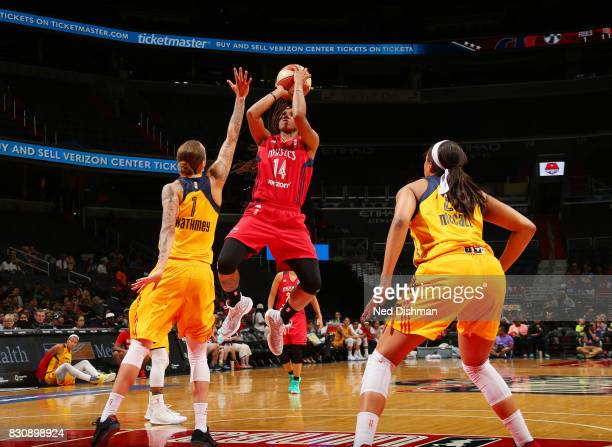 Tierra RuffinPratt of the Washington Mystics shoots the ball against the Indiana Fever on August 12 2017 at the Verizon Center in Washington DC NOTE...