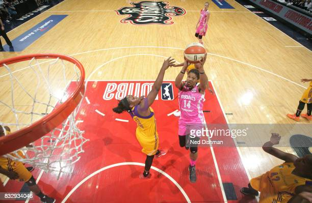 Tierra RuffinPratt of the Washington Mystics shoots the ball against the Los Angeles Sparks on August 16 2017 at the Verizon Center in Washington DC...