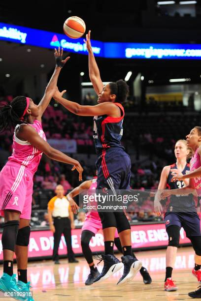 Tierra RuffinPratt of the Washington Mystics shoots the ball during the game against the Atlanta Dream on July 30 2017 at Hank McCamish Pavilion in...