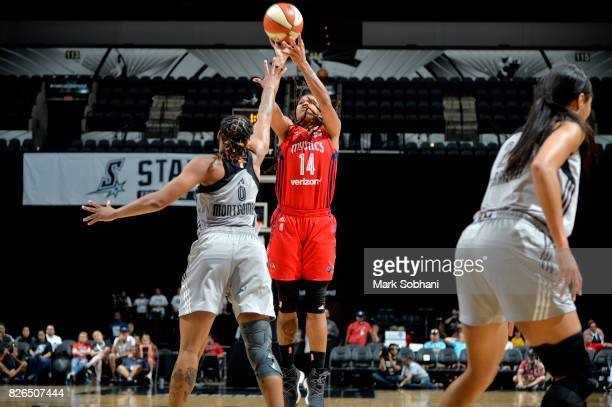 Tierra RuffinPratt of the Washington Mystics shoots the ball during the game against the San Antonio Stars during a WNBA game on August 4 2017 at the...