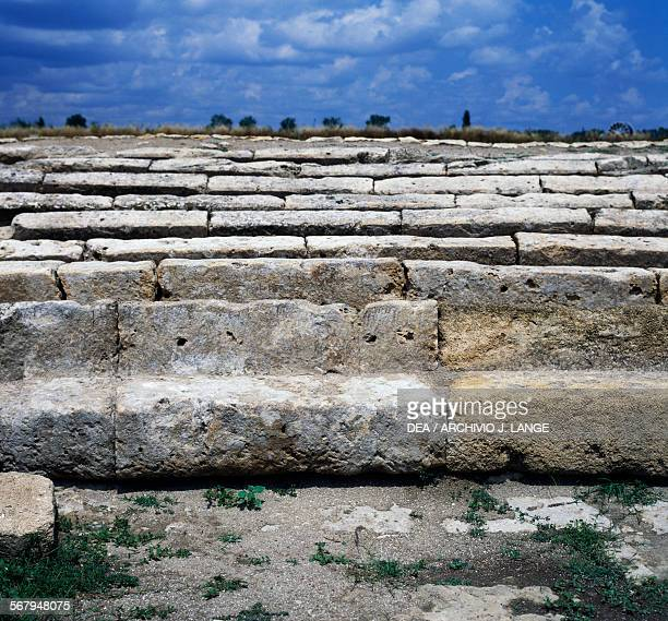 Tiers of the Greek theatre 4th century BC detail Archaeological area of Metapontum fraction of Bernalda Basilicata Italy