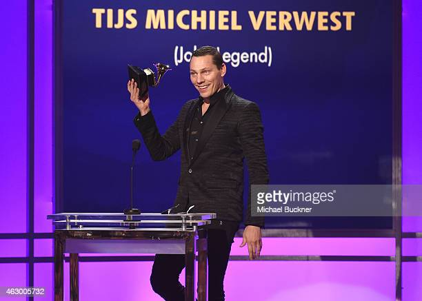 Tiesto accepts the award for Best Remixed Recording NonClassical for 'All of Me' onstage at the Premiere Ceremony during The 57th Annual GRAMMY...