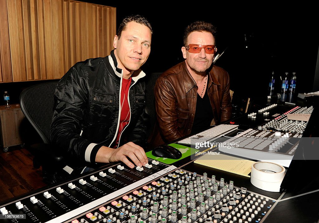 Tiesto and Bono collaborate on U2's 'Pride' for DANCE (RED), SAVE LIVES at Converse Rubber Tracks Studio on November 5, 2012 in Brooklyn, New York.
