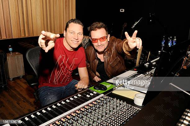 Tiesto and Bono collaborate on U2's 'Pride' for DANCE SAVE LIVES at Converse Rubber Tracks Studio on November 5 2012 in Brooklyn New York