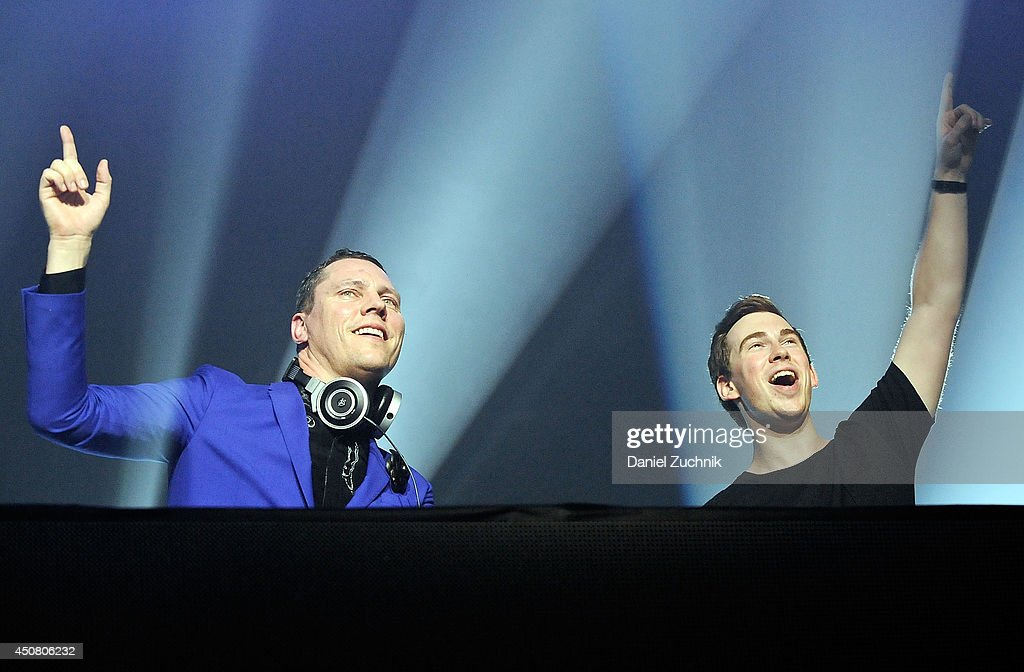 Tiesto features DJ Hardwell as they perform together during the 7UP Presents Tiesto's 'A Town Called Paradise' Album Release Party at Terminal 5 on...