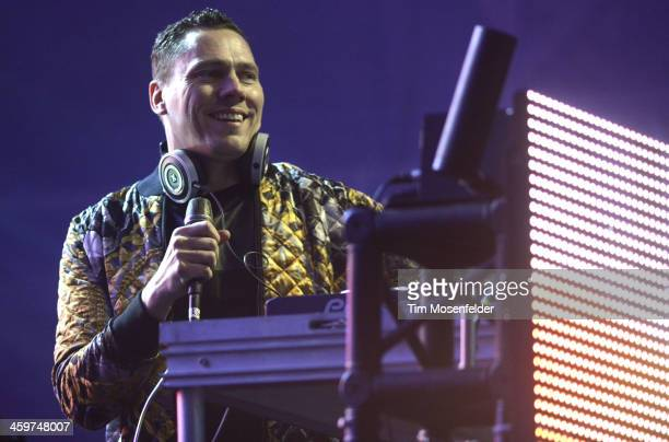Tiesto performs at the Snowglobe Music Festival at Lake Tahoe Community College on December 29 2013 in South Lake Tahoe California