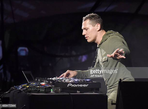 Tiesto performs at the Twin Peaks Stage during day 3 of the 2014 Outside Lands Music and Arts Festival at Golden Gate Park on August 10 2014 in San...