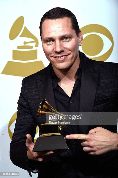 Tiesto winner of Best Remixed Recording NonClassical for 'All Of Me' poses in the press room during The 57th Annual GRAMMY Awards at the STAPLES...