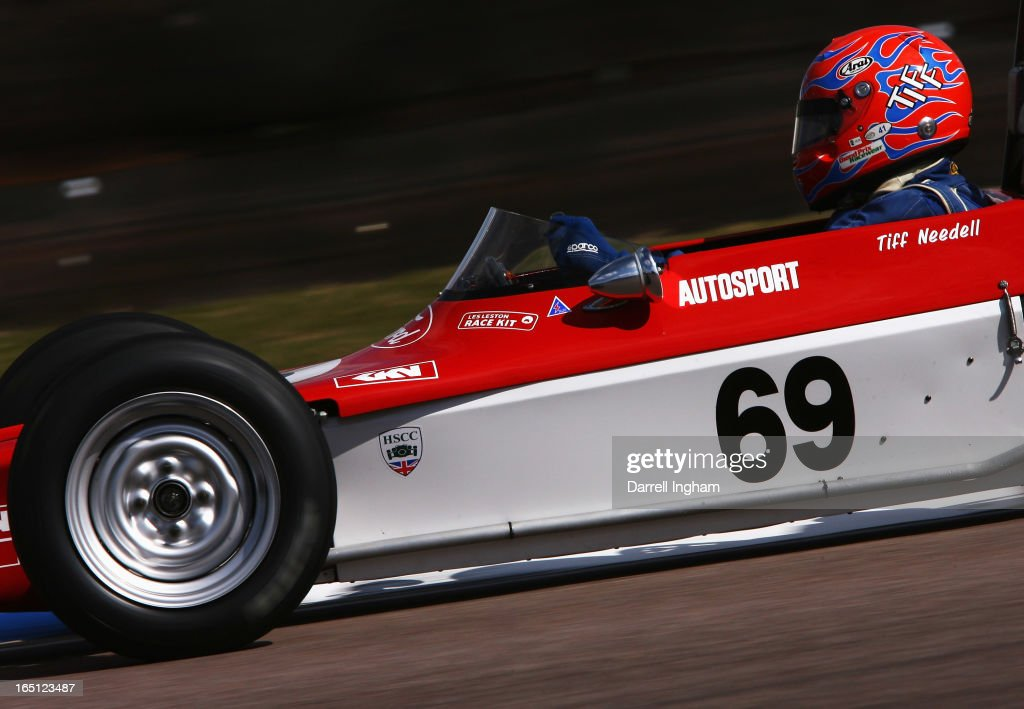 Tiff Needell drives the #69 Autosport Lotus 69 during the Historic Formula Ford 1600 race at the Historic Sports Car Club Thruxton Revival Meeting at the Thruxton Circuit on March 31, 2013 near Andover, United Kingdom.