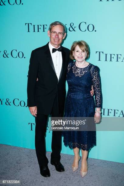 Tiffany Co Chairman Michael Kowalski and Barbara Kowalski attend the Tiffany Co 2017 Blue Book Collection Gala at St Anna's Warehouse on April 21...