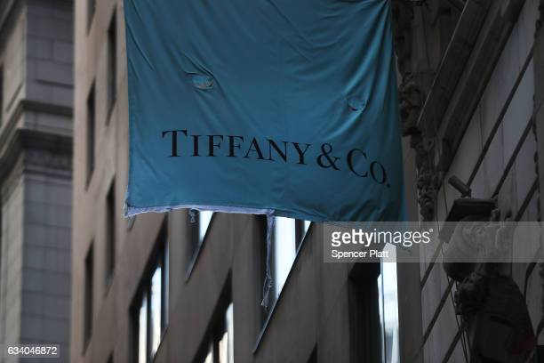 Tiffany Co flag hangs outside of a store in lower Manhattan on February 6 2017 in New York City Following disappointing financial resultsTiffany Co...