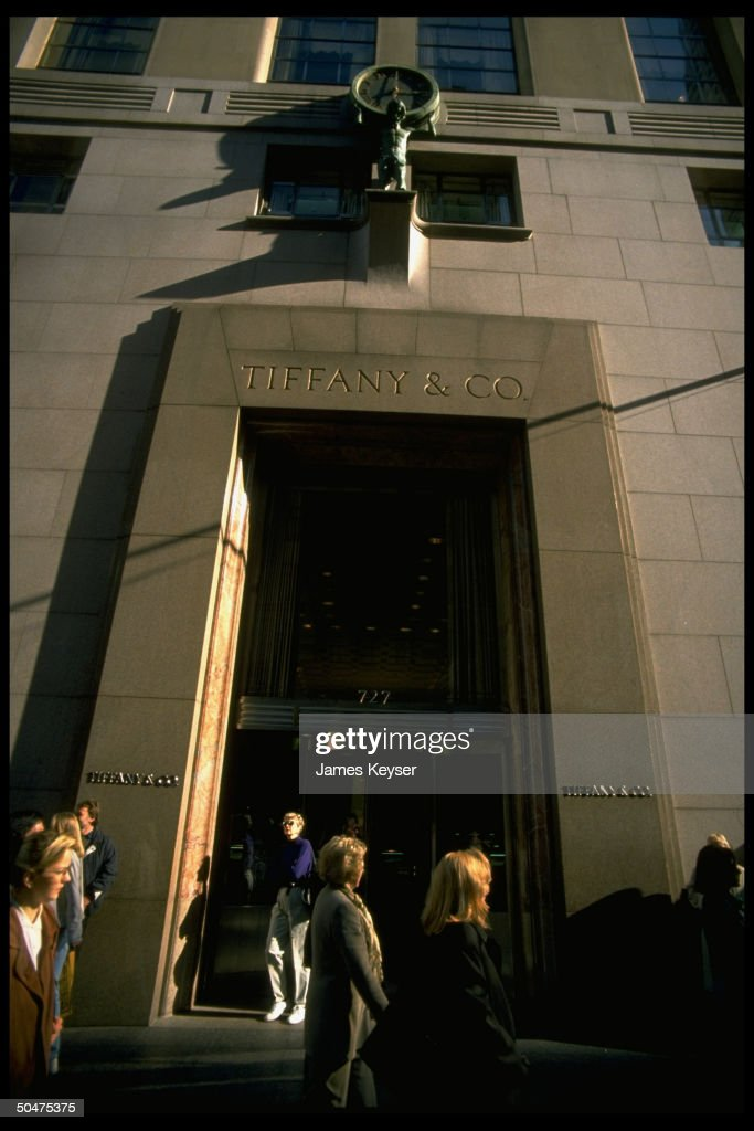 Tiffany Co store facade on Fifth Avenue in NYC