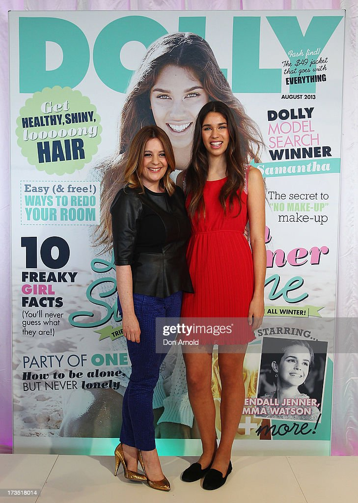 Tiffany Dunk poses alongside Samantha Garza at the Dolly Model Search Winner Announcement event at the Museum of Contemporary Art on July 16, 2013 in Sydney, Australia.