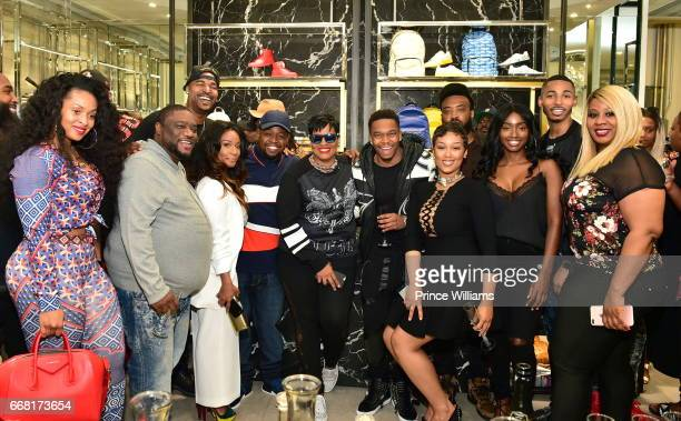 Tiffany Foxx DJ Infamous Chubbie Baby Rita Campos and Swift attend Sip Shop Listen For The 'Crown' EP at Philipp Plein on April 12 2017 in Atlanta...