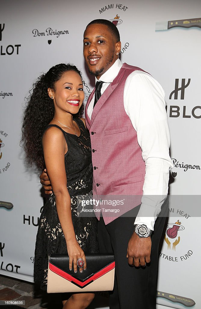 Tiffany Graves and Mario Chalmers attend the Miami HEAT Family Foundation night of 'Motown Revue' on February 27, 2013 in Miami, Florida.