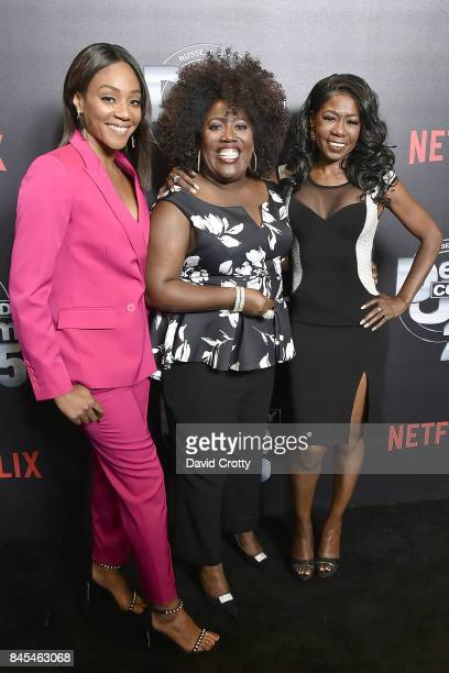 Tiffany Haddish Sheryl Underwood and Melanie Comarcho attend Netflix Presents Def Comedy Jam 25 at The Beverly Hilton Hotel on September 10 2017 in...