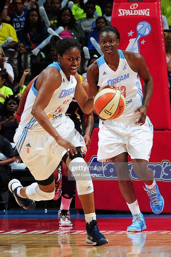 Tiffany Hayes #15 of the Atlanta Dream drives against the Indiana Fever at Philips Arena on June 25, 2013 in Atlanta, Georgia.
