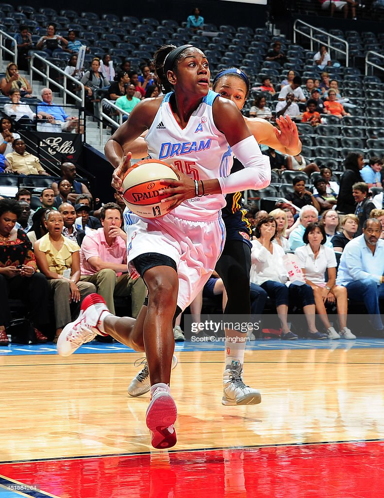 <a gi-track='captionPersonalityLinkClicked' href=/galleries/search?phrase=Tiffany+Hayes&family=editorial&specificpeople=5088954 ng-click='$event.stopPropagation()'>Tiffany Hayes</a> #15 of the Atlanta Dream drives against the Indiana Fever on July 1, 2014 at Philips Arena in Atlanta, Georgia.