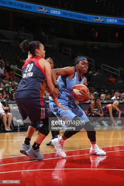 Tiffany Hayes of the Atlanta Dream drives to the basket against the Washington Mystics on June 4 2017 at Verizon Center in Washington DC NOTE TO USER...