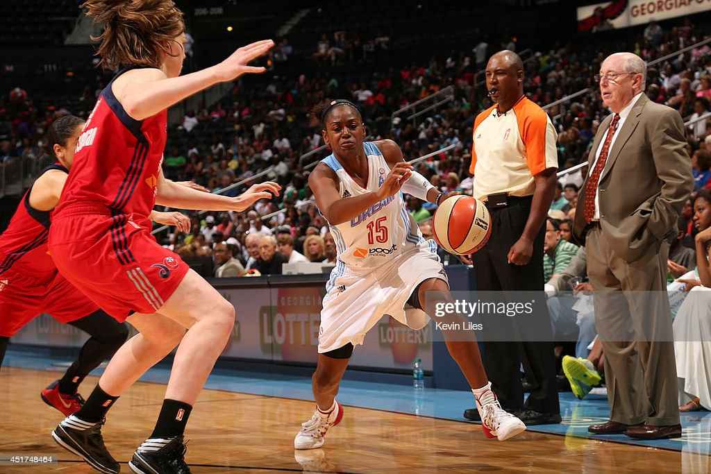 Tiffany Hayes #15 of the Atlanta Dream handles the ball against the Washington Mystics at Philips Arena on July 5, 2014 in Atlanta, Georgia.