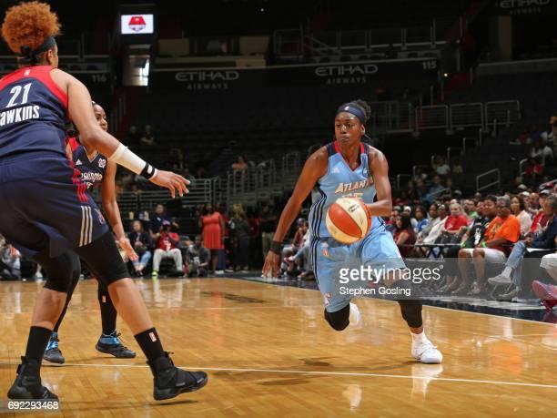 Tiffany Hayes of the Atlanta Dream handles the ball against the Washington Mystics on June 4 2017 at Verizon Center in Washington DC NOTE TO USER...