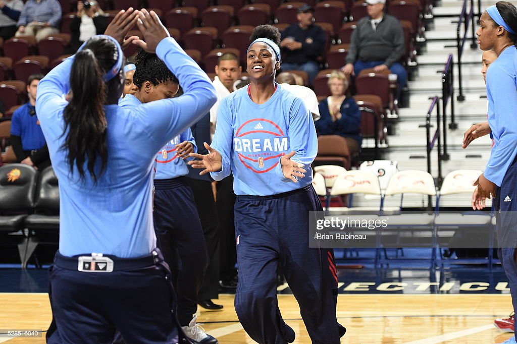 Tiffany Hayes #15 of the Atlanta Dream is introduced before the game against the Chicago Sky in a WNBA preseason game on May 5, 2016 at the Mohegan Sun Arena in Uncasville, Connecticut.