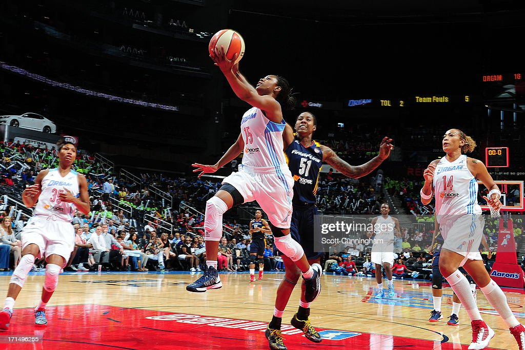 Tiffany Hayes #15 of the Atlanta Dream puts up a shot against the Indiana Fever at Philips Arena on June 25, 2013 in Atlanta, Georgia.