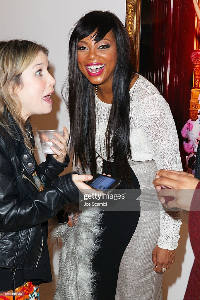 Tiffany Hines arrives at Markus + Indrani Icons book launch party hosted by Carmen Electra benefiting The Trevor Project at Merry Karnowsky Gallery & Graffiti on January 10, 2013 in Los Angeles, California.