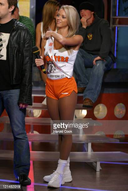 Tiffany Hooters Calendar Girl during Hooters Calendar Girls Visit FUSE's 'Daily Download' October 19 2004 at FUSE Studios in New York City New York...