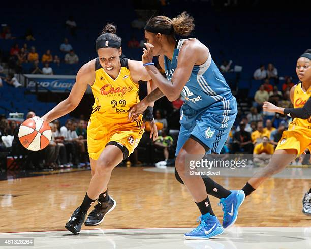 Tiffany JacksonJones of the Tulsa Shock handles the ball against the Minnesota Lynx on July 19 2015 at the BOK Center in Tulsa Oklahoma NOTE TO USER...