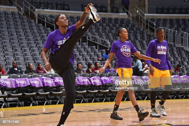 Tiffany JacksonJones Sandrine Gruda and Maimouna Diarra of the Los Angeles Sparks warm up before the game against the New York Liberty on August 4...