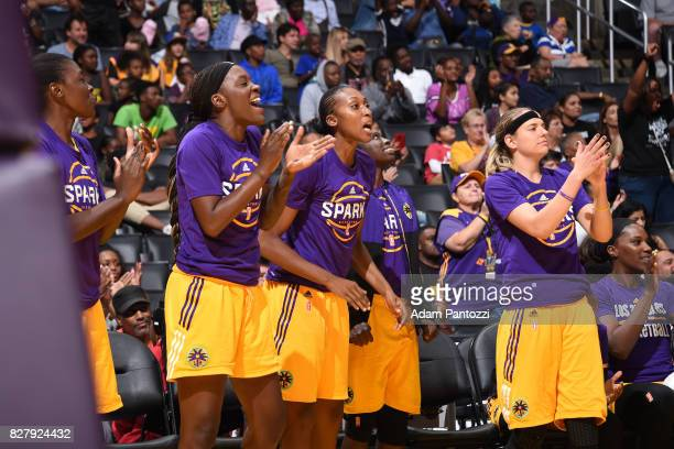 Tiffany JacksonJones Sandrine Gruda and Sydney Wiese of the Los Angeles Sparks react to a play against the New York Liberty on August 4 2017 at the...