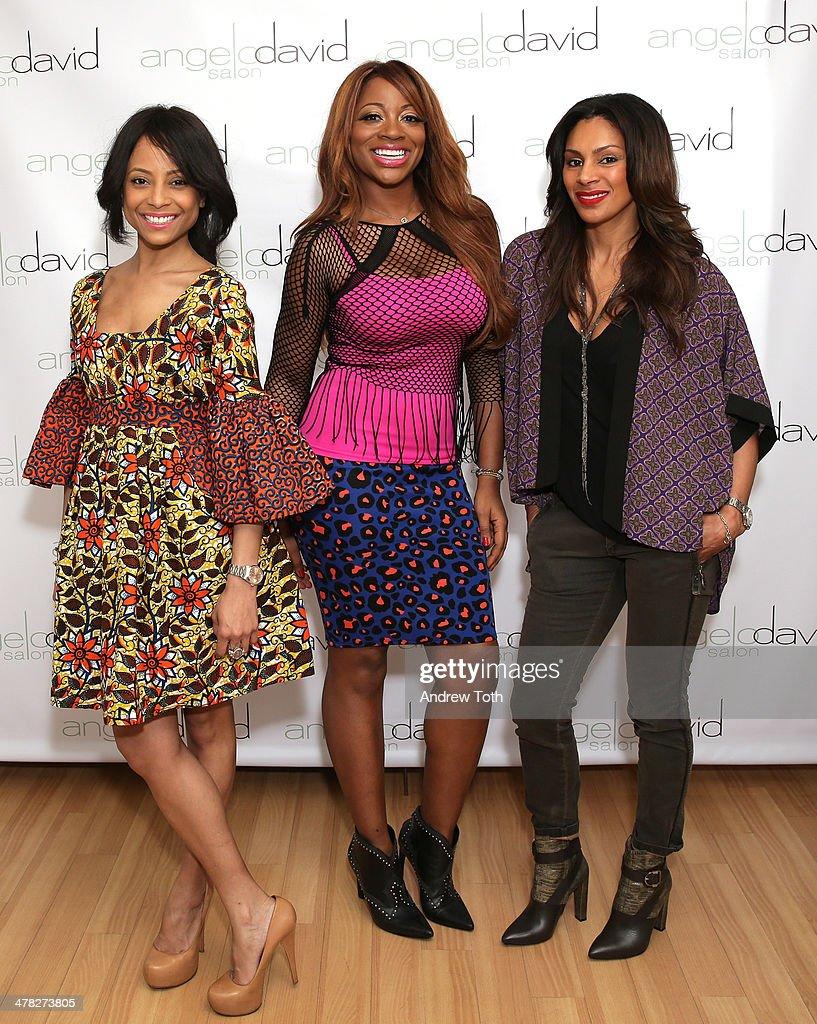 Tiffany Jones, Bershan Shaw and Chenoa Maxwell attend Aviva Drescher's 'Leggy Blonde' book launch celebration at Angelo David Salon on March 12, 2014 in New York City.