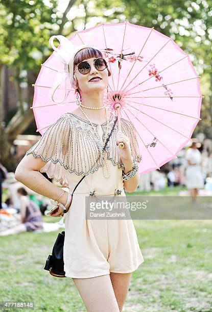 Tiffany Lee is seen wearing a Modcloth dress during the 10th Annual Jazz Age Lawn Party at Governors Island on June 14 2015 in New York City