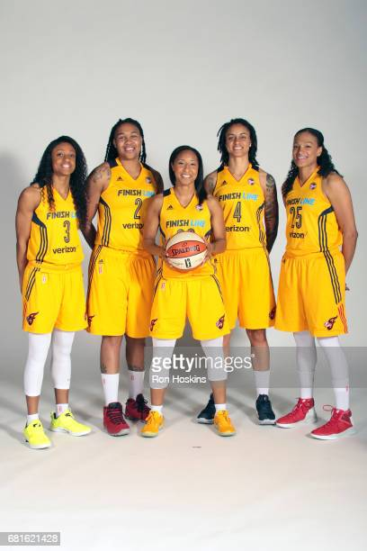 Tiffany Mitchell Erlana Larkins Briann January Candice Dupree and Marissa Coleman poses for a portrait during Media Day at Bankers Life Fieldhouse on...