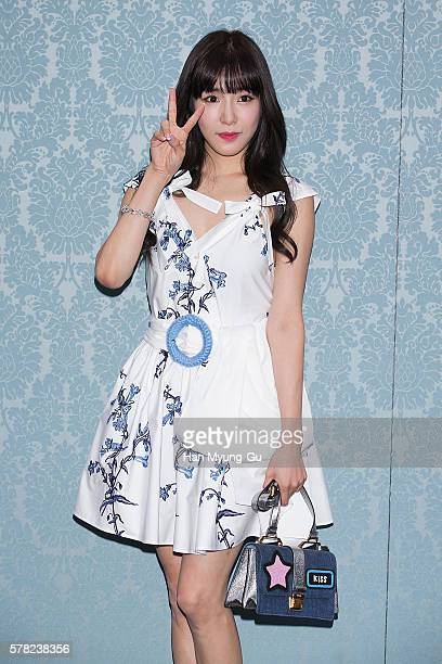 Tiffany of South Korean girl group Girls' Generation attends the opening event for the Miu Miu Cheongdam Boutique on July 20 2016 in Seoul South Korea