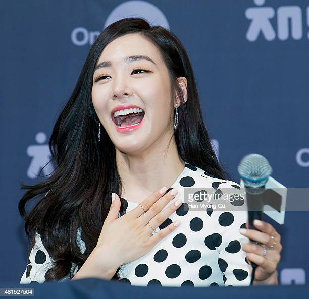 Tiffany of South Korean girl group Girls' Generation attends the OnStyle 'Channel SNSD' Press Conference at Imperial Palace Hotel on July 21 2015 in...
